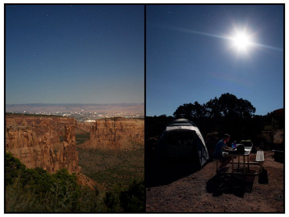Colorado National Monument and camping under a full moon