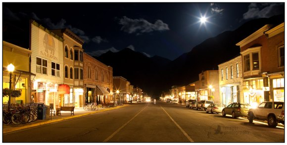 Panorama of Telluride, Colorado under a full moon