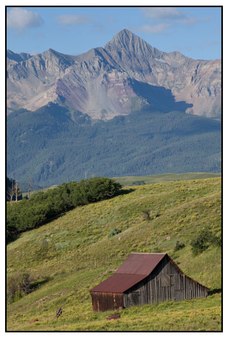 Wilson Peak and a barn near Telluride, Colorado