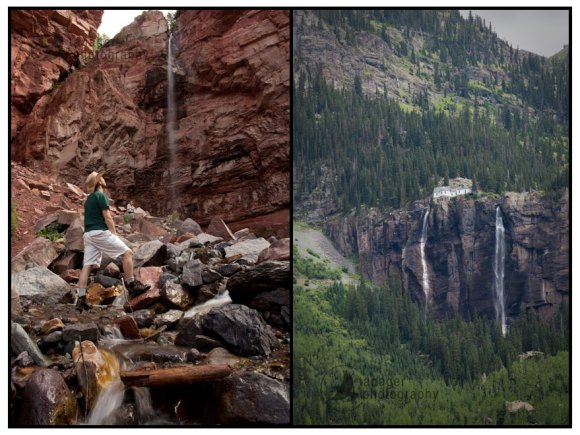 Cornet Falls and Bridal Veil Falls, both near Telluride, Colorado