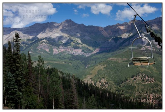 The Sneffels Range and a chairlift as seen from Telluride Mountain Resort, Colorado.