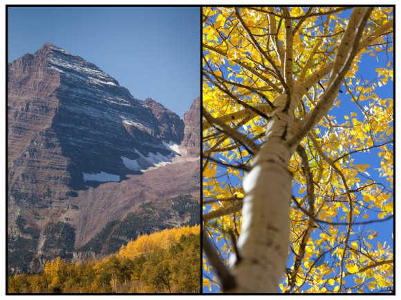 The Maroon Bells in fall color outside Aspen, Colorado
