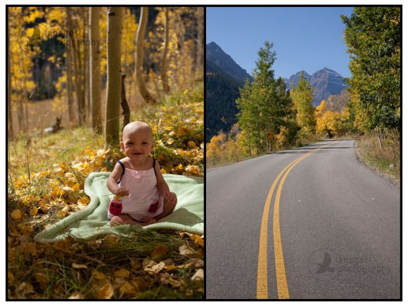 A six-month-old girl plays near the Maroon Bells outside Aspen, Colorado