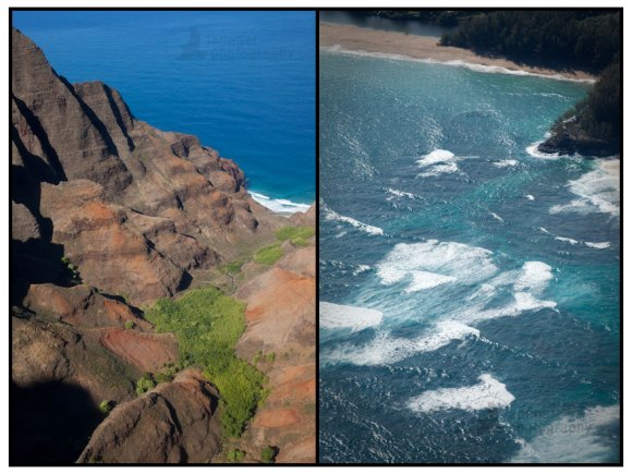 Aerial photos of the Na Pali Coast, Kauai, Hawaii.