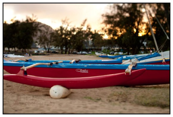 Outrigger canoe, Kalapaki Beach, Kauai, Hawaii (tilt-shift)