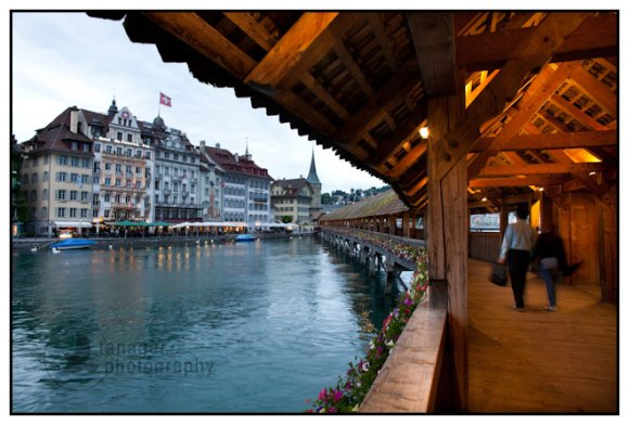 Interior view of the Chapel Bridge with the Reuss River and Lucerne, Switzerland.