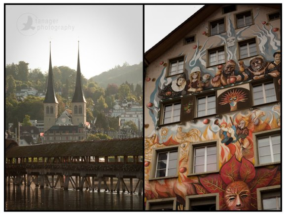 St. Leodegar im Hof Church and a half-timbered building with a mural, Lucerne, Switzerland.