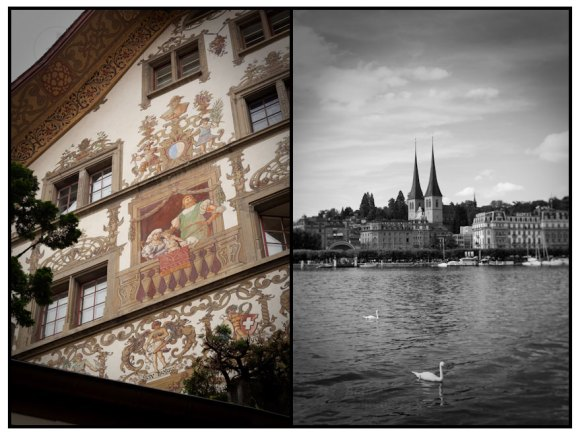 Half-timbered building with mural and St. Leodegar im Hof Church from the lake, Lucerne, Switzerland.