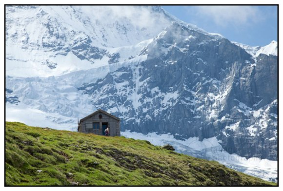A lone hut beneath the Jungfrau, Berner Oberland, Switzerland.