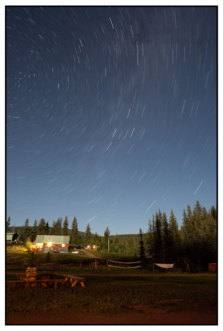 Time lapse of the North Star over the Ute Lodge, near Buford, Colorado