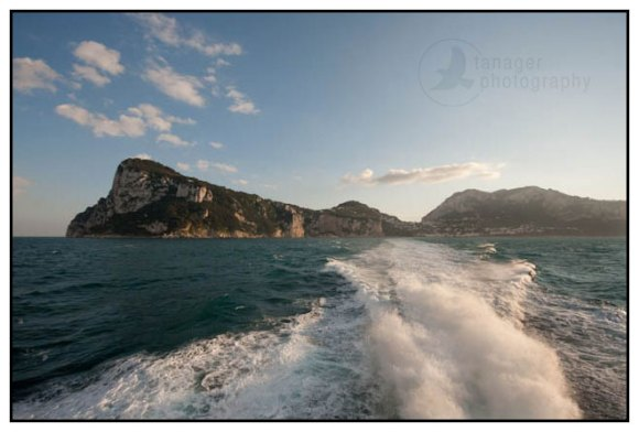 Ferry wake and Capri Island