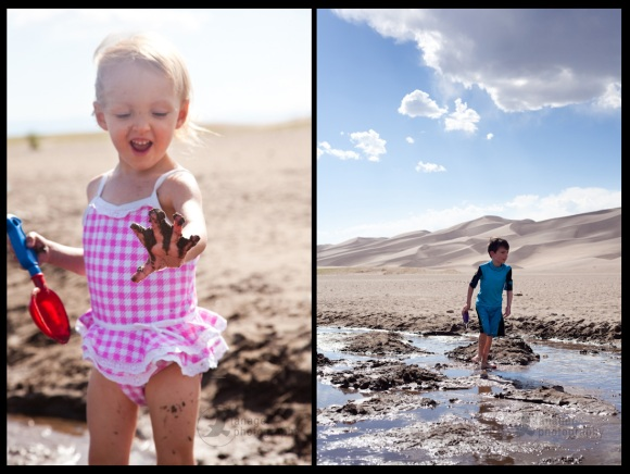 Kids play in Medano Creek, Great Sand Dunes National Park, Colorado