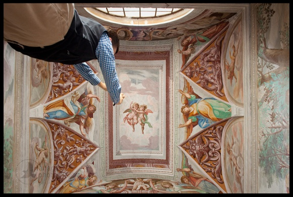 Adam Huggins ascends into heaven, Orta San Giulio