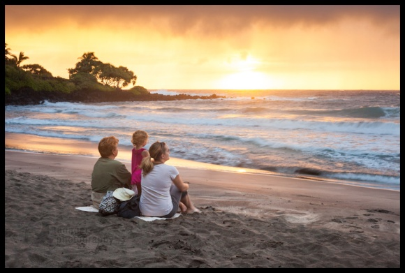 Family on Hamoa Beach, near Hana, Maui