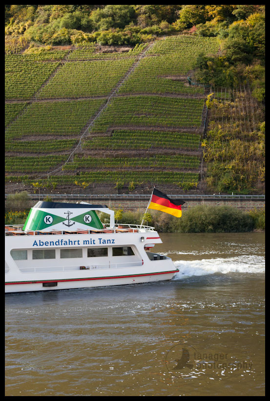 Boat touring the Mosel River near Beilstein, Germany